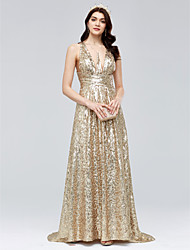 Sheath / Column V-neck Sweep / Brush Train Sequined Formal Evening Dress with Ruching by TS Couture®