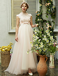 A-Line High Neck Sweep / Brush Train Tulle Wedding Dress with Beading by Huaxirenjiao