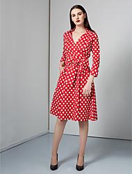 Damen Swing Kleid-Lässig/Alltäglich Retro Punkt V-Ausschnitt Knielang ¾-Arm Rot / Weiß / Schwarz Polyester Herbst / WinterMittlere