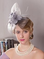 abordables -tocado de plumas de tul tocado elegante estilo femenino clásico
