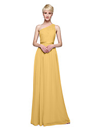 cheap -Product Sample A-Line Princess One Shoulder Floor Length Chiffon Lace Bridesmaid Dress with Sash / Ribbon Pleats by LAN TING BRIDE®