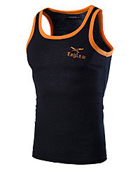 cheap -Men's Sports Cotton Tank Top - Solid Colored Embroidered Round Neck