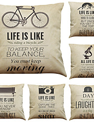Set of 6 Retro Inspirational Letters Pattern Linen Pillowcase Sofa Home Decor Cushion Cover  Throw Pillow Case (18*18inch)