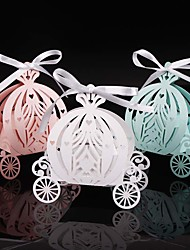 2017 50pcs Laser cut pumpkin carriage Wedding Candy favor boxpearl color paper candy boxbaby shower birthday gift