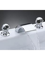 abordables -robinet lavabo - chrome cascade répandue mélangeurs trois robinets de bain