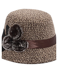 Autumn Ladies Dome British Woolen Mink Hair Flowers Mixed Color Snow Point Basin Cap