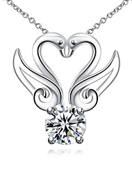cheap -Women's Heart Animal Animal Design Pendant Necklace Synthetic Diamond Silver Plated Pendant Necklace , Christmas Gifts Wedding Party
