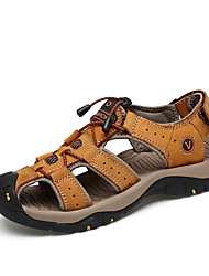 cheap -Men's Shoes Cowhide / Leather Summer / Fall Comfort Sandals Light Brown / Dark Brown