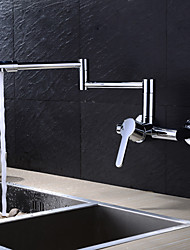 Contemporary Pot Filler Wall Mounted Rotatable Ceramic Valve Single Handle Two Holes Chrome , Kitchen faucet