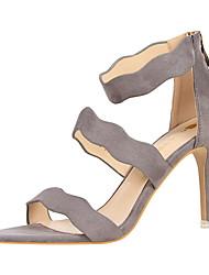 Women's Sandals Summer Comfort Suede Dress Stiletto Heel Blushing Pink Green Red Yellow Gray