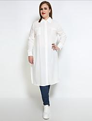 Camicia Da donna Casual Ufficio Taglie forti Sensuale Semplice Moda città Per tutte le stagioni,Tinta unita Colletto Cotone Manica lunga