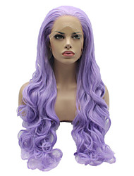 Purple Color Synthetic Lace Front Wigs Body Wave Hair Heat Resistant Fiber Hair Wig for Woman