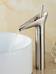 cheap -Bathroom Sink Faucet - Pre Rinse / Waterfall Nickel Brushed Centerset Single Handle One Hole