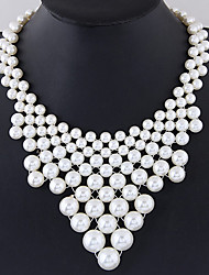 Women's Collar Necklace Imitation Pearl Round Alloy Euramerican Fashion White Jewelry