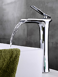 Contemporary Modern Centerset Waterfall Ceramic Valve One Hole Single Handle One Hole Chrome , Bathroom Sink Faucet