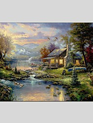 cheap -Hand-Painted Landscape Horizontal Panoramic, Classic Modern Canvas Oil Painting Home Decoration One Panel