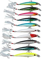 "10 pcs Hard Bait Minnow Fishing Lures Hard Bait Minnow Assorted Colors g/Ounce,90 mm/3-1/2"" inch,Hard PlasticSea Fishing Bait Casting Ice"