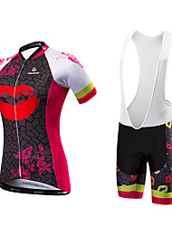 Malciklo Cycling Jersey with Bib Shorts Women's Short Sleeves Bike Bib Tights Jersey Quick Dry Anatomic Design Ultraviolet Resistant
