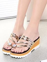 Feminino Sapatos Couro Ecológico Primavera Conforto Sandálias Para Casual Dourado Preto Prata