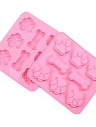 cheap -Dog Bones Footprint Mold 3D Cartoon For Cake For Candy For Ice For Chocolate Silicone Holiday 3D Eco-Friendly 17.4x15.6x1.5cm(6.8x6.1x0.6 INCH)