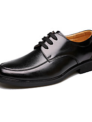 cheap -Men's Shoes Cowhide Spring Summer Fall Winter Comfort Oxfords Lace-up For Casual Outdoor Office & Career Party & Evening Black