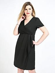 cheap -Really Love Women's Party Daily Plus Size Vintage Casual Sexy Shift Sheath Tunic Dress,Solid V Neck Knee-length Short Sleeves Polyester Spandex All