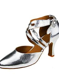 """Femme Modernes Similicuir Sandale Talon Professionnel Boucle Talon Personnalisé Argent 1 """"- 1 3/4"""" 2 """"- 2 3/4"""" 3 """"- 3 3/4"""" 10 cm & Plus"""
