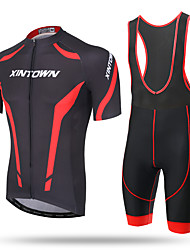 cheap -XINTOWN Cycling Jersey with Bib Shorts Men's Short Sleeves Bike Bib Tights Jersey Quick Dry Front Zipper Breathable Soft Ultra Light