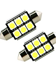 ZIQIAO White 41mm 5050 6 SMD LED C5W Car Led Auto Interior Dome Door Light Bulb Pathway lighting Work Lamp (12V/2PCS)