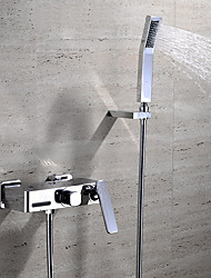 Contemporary Wall Mounted Waterfall Ceramic Valve Two Handles Three Holes Chrome , Bathtub Faucet