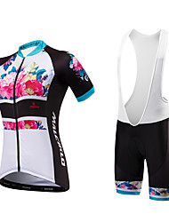 Malciklo Cycling Jersey with Bib Shorts Women's Unisex Short Sleeves Bike Bib Shorts Sweatshirt Jersey Padded Shorts/Chamois Anatomic