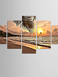 cheap -Photographic Print Landscape Modern Mediterranean,Five Panels Canvas Any Shape Print Wall Decor For Home Decoration