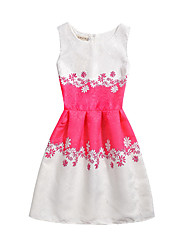 Women's Casual/Daily Beach Holiday Vintage A Line Dress,Floral Jacquard Round Neck Knee-length Sleeveless Cotton Polyester SummerHigh