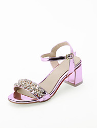 Women's Sandals Summer Fall Comfort Ankle Strap Customized Materials Office & Career Party & Evening Dress Chunky Heel Rhinestone Buckle