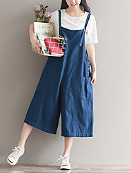 cheap -Women's Wide Leg / Overalls Pants - Solid Colored High Rise / Spring / Going out