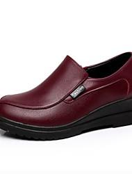 Women's Loafers & Slip-Ons Spring Fall Creepers Cowhide Dress Casual Wedge Heel Burgundy Orange/Black Black
