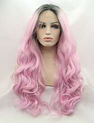 cheap -2017 Sylvia Synthetic Lace Front Wig Natural Wavy Pink Heat Resistant Synthetic Wigs