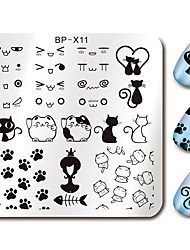 cheap -Cute Cat Design Nail Art Stamp Stamping Plates BORN PRETTY 6*6cm Square Template Cats Image Plate BP-X11