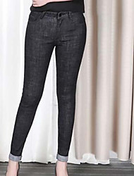 Women's High Rise Micro-elastic Jeans Pants,Simple Skinny Solid