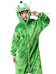 cheap -Kigurumi Pajamas One-Eyed Monster Monster Onesie Pajamas Costume Flannel Toison Green Cosplay For Animal Sleepwear Cartoon Halloween