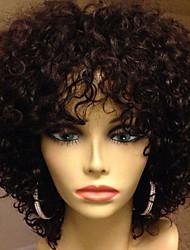 Недорогие -Натуральные волосы Бесклеевая кружевная лента Лента спереди Парик стиль Бразильские волосы Kinky Curly Парик 130% Плотность волос / Природные волосы / 100% ручная работа / с детскими волосами