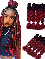 cheap -5pcs Box Braids Jumbo Hair Extensions 1B / Wine Red Color Kanekalon Hair Braids 500g