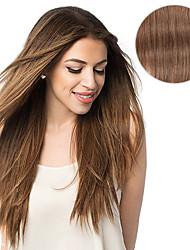 billiga -Klämma in Människohår förlängningar Rak Hårförlängningar av äkta hår Äkta hår Dam - Kastanj brunt