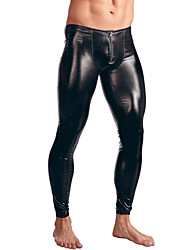 cheap -Men's Patent Leather Erotic Long Johns Solid Colored Mid Waist