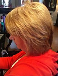 cheap -High quality Ripe Partial Fringe Medium Long  Hair Human Hair Wig Woman hair