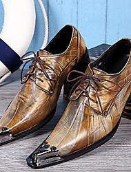 abordables -Hombre Zapatos Cuero de Napa Primavera Verano Otoño Invierno Zapatos formales Oxfords Para Casual Fiesta y Noche Dorado