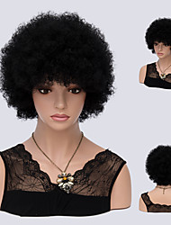 Short Wig Synthetic None Lace Front Wig Kinky Curly African Kanekalon Heat Resistant Hair For Women Natural Black