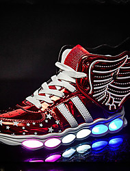 cheap -Boys' Shoes PU Summer / Fall Comfort / Novelty / Light Up Shoes Sneakers Walking Shoes Lace-up / LED for Black / Silver / Red