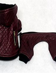 economico -Cane Tuta Abbigliamento per cani Caldo Casual Solidi Nero Rosso Costume Per animali domestici