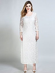 Really Love Women's Plus Size Going out Party Sexy Vintage Street chic Shift Sheath Lace Dress,Solid Round Neck Maxi ¾ Sleeve CottonSpandex